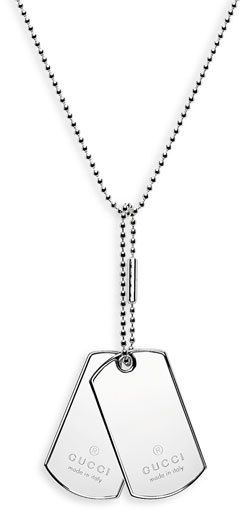 Men's Gucci Silver Dog Tag Necklace