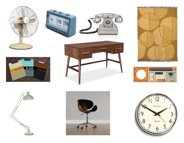 """""""Retro Office"""" by gothicvamperstein on Polyvore featuring interior, interiors, interior design, home, home decor, interior decorating, Crosley Radio & Furniture, Swan, Porthos Home and Orla Kiely"""