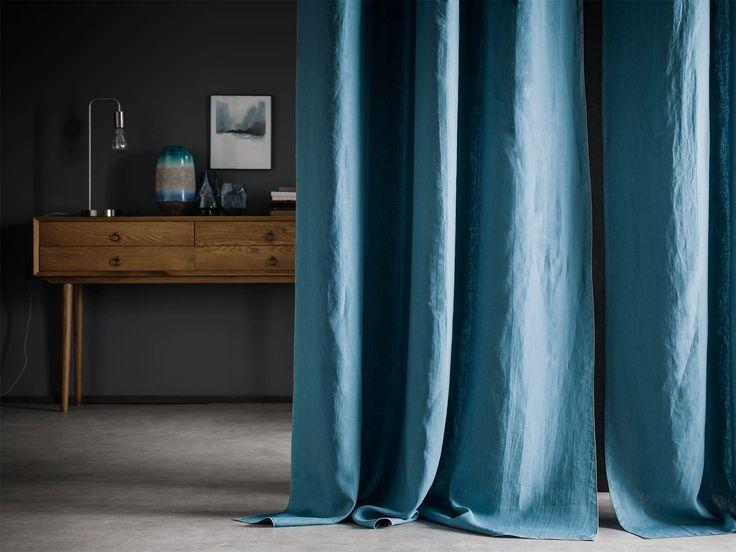 rideau en 100 lin lav autour du lin canard bourdon. Black Bedroom Furniture Sets. Home Design Ideas