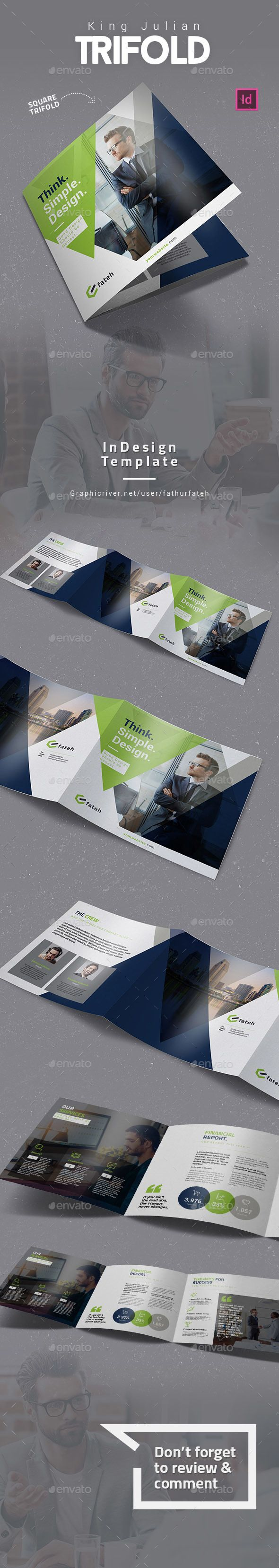 King Julian Square Trifold — InDesign INDD #agency #advertising • Download ➝ https://graphicriver.net/item/king-julian-square-trifold/18866537?ref=pxcr