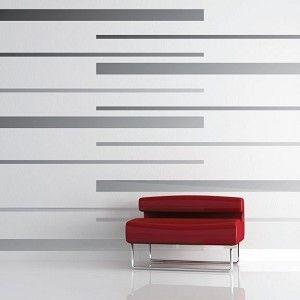 Room Stripes Wall Decals   Vinyl Wall Decals   Trendy Wall Designs - This would be an easy way to add stripes to B's wall -thick navy & thin red