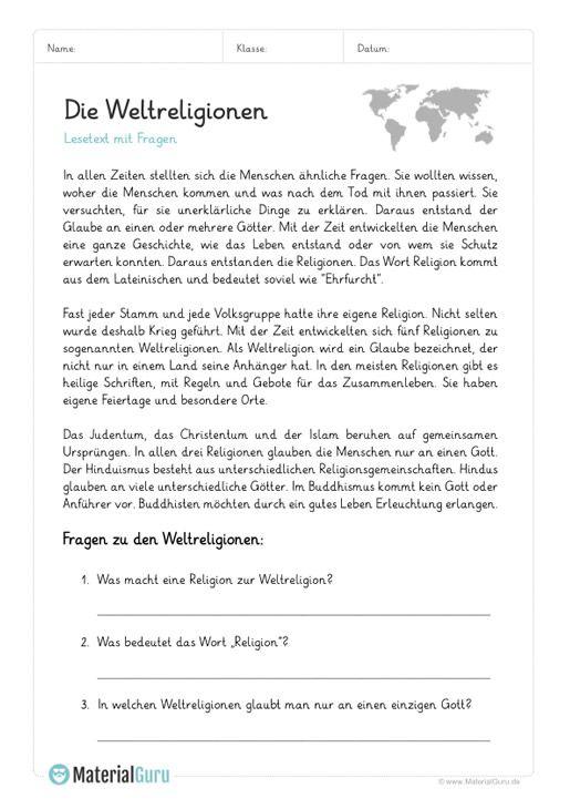 Kostenlose Arbeitsblätter Rund Um Die Fünf Groen Weltreligionen Zum