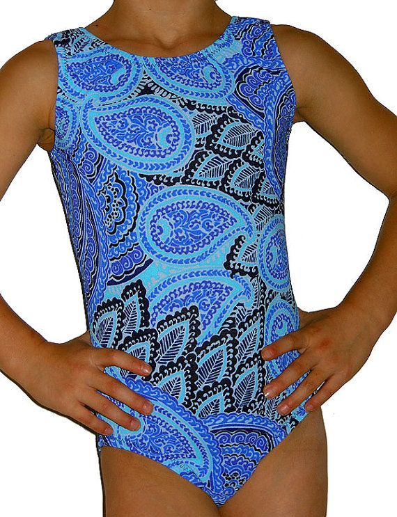 Blue Paisley Gymnastics Leotard Gymnast Leos by AEROLeotards