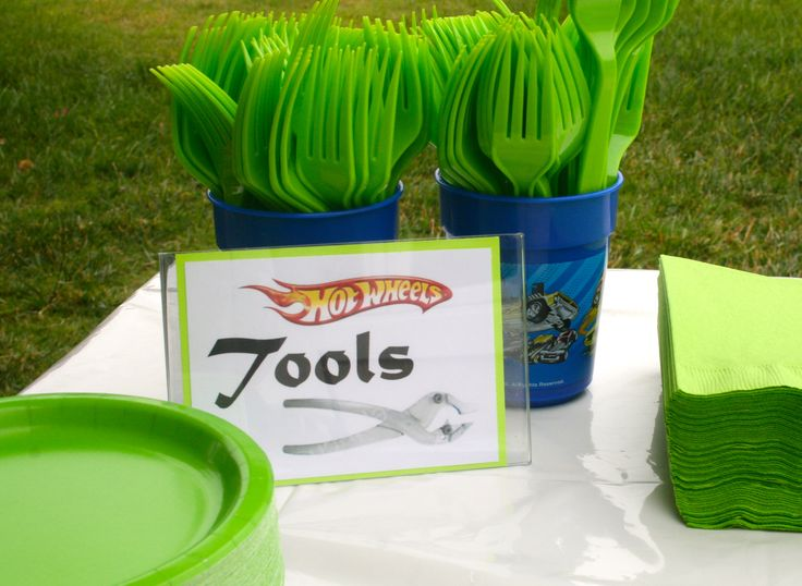 Hot Wheels Party for J's 6th Birthday!  For the cake table...