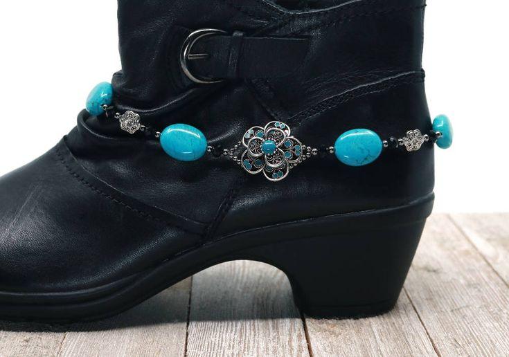 Flower boot bling, blue boot bracelet, girlfriend gift, stocking stuffer, Christmas gift by CustomAnkletsByLori on Etsy