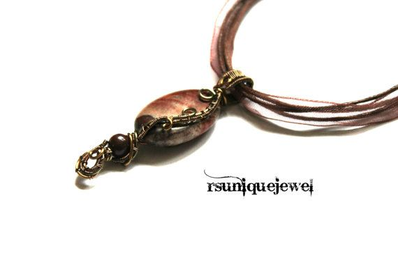 Wire Wrapped Brown Jasper Pendant Vintage Look by rsuniquejewel