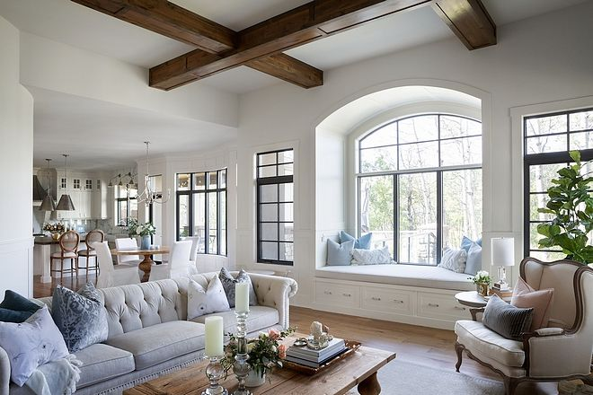 Reading Nook Modern Farmhouse Living Room With Inviting Reading Nook With Arched Window Farm House Living Room Modern Farmhouse Living Room Living Room Windows