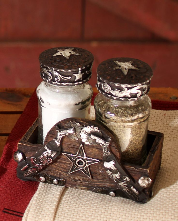 Western moments star salt and pepper shaker set kitchenware home decor fort western - Western canisters for kitchen ...