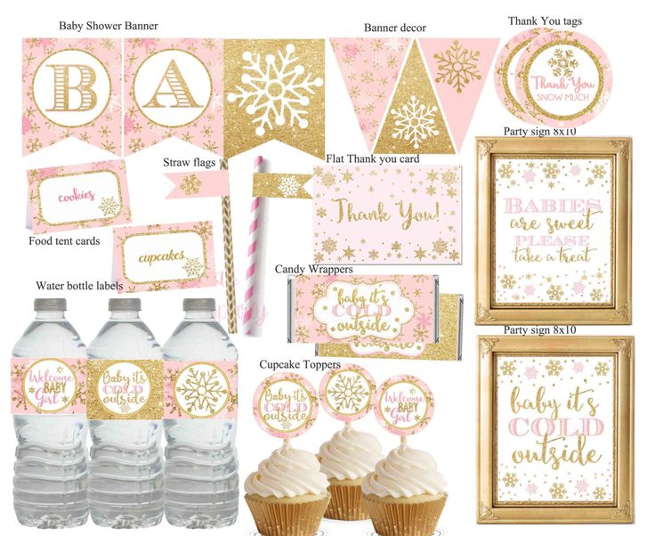 Winter Wonderland Baby shower Decorations, Winter Baby Shower Decor, Pink and gold Baby Shower, Printable Baby shower, Digital File. by DreamyPartyPrintable on Etsy https://www.etsy.com/listing/469138448/winter-wonderland-baby-shower