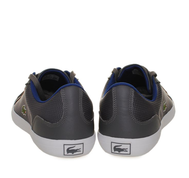 LACOSTE Dark Grey Leather/Canvas Sneakers with Laces. Ανδρικά σκούρα γκρι δερμάτινα/υφασμάτινα παπούτσια με κορδόνια.