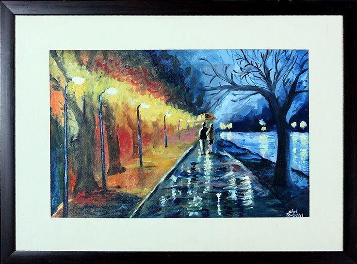 The vivid shades of street lights and trees provides an extremely contrasting combination and couples alongside of lake rises the feel of love and compassion