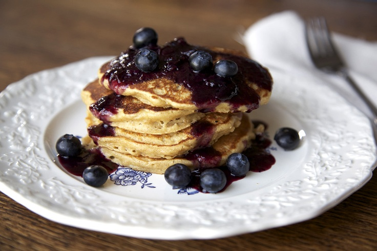 Oatmeal Pancakes with Blueberry Maple Compote