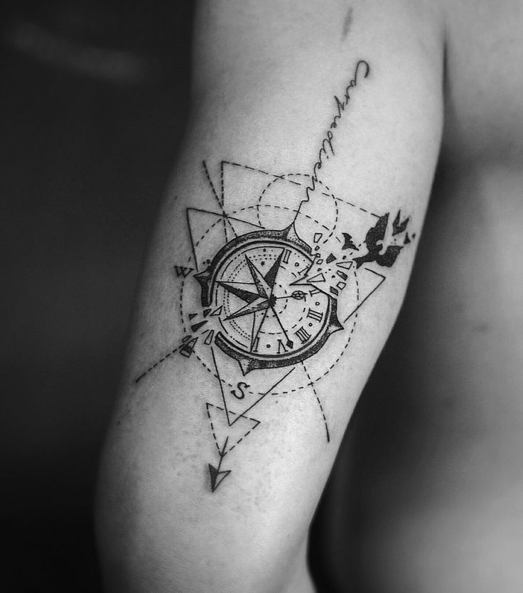 Compass clock birds geometric tattoo