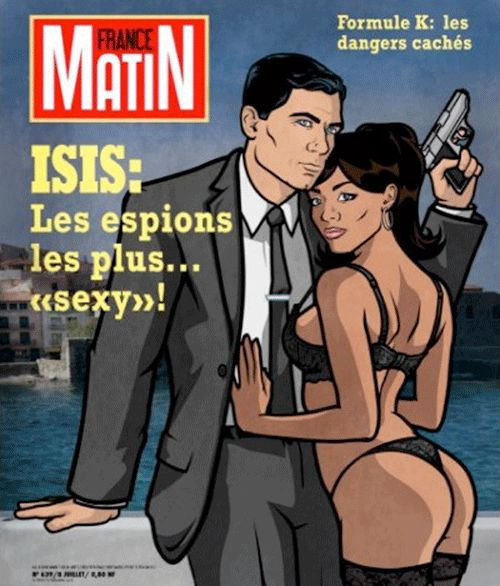 "The magazine ""France Matin"" with Sterling Archer and Lana Kane on the front cover."