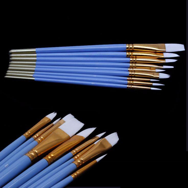 10 Unids Azul Pintura Al Óleo Acuarela Gouache Pluma Del Arte Del Clavo Cepillos de Pelo de Nylon Blanco