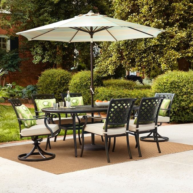 Allen Roth Queensbury 7 Piece Patio Dining Set At Lowes Com In