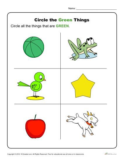 circle the green things preschool activities and worksheets color worksheets for preschool. Black Bedroom Furniture Sets. Home Design Ideas