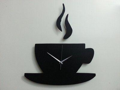 wooden clock | OROLOGIO DA PARETE TAZZA CAFFE' IN LEGNO FATTO A MANO MODERNO UNICO ...