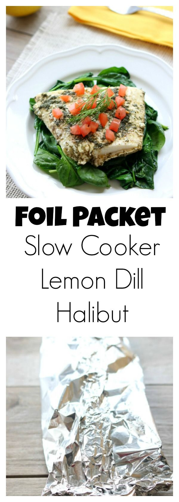 Slow Cooker Lemon Dill Halibut –light and flaky halibut with lemon and dill made in your slow cooker inside a foil packet. No fishy smelling house and super easy clean up makes this a winning way to make fish. @alaskaseafood #AskForAlaska #IC #ad