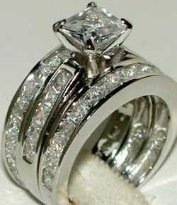 WIDE BAND PRINCESS CZ WEDDING RING CZ SET Sz 5 6 7 8 9..... Please can I have future husband?? Please!