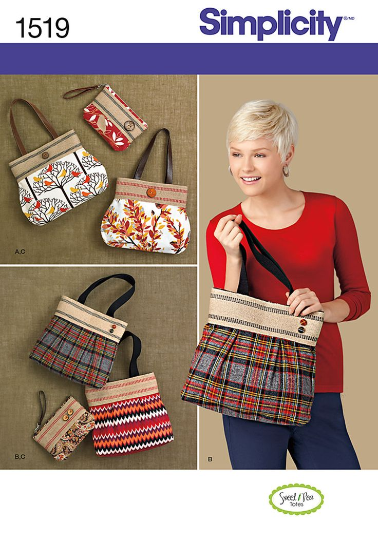 DIY bags with Simplicity jute web trim tops. Roomy shoulder bags hold it all in style; zip-top clutches go anywhere. Sew your style using Simplicity Pattern 1519.