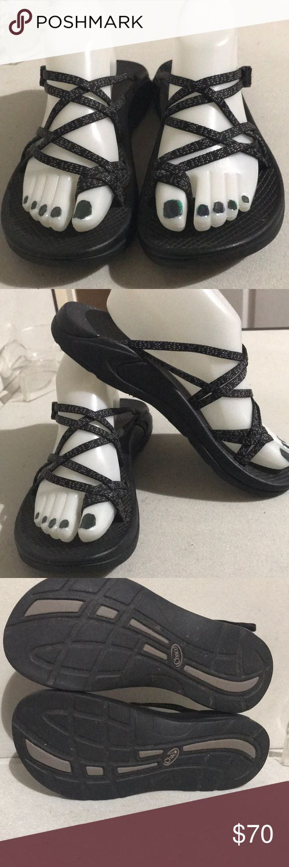 Chaco Strappy Sandals Sz 8  Women's Black/ Gray Excellent preowned condition Chaco Shoes Sandals