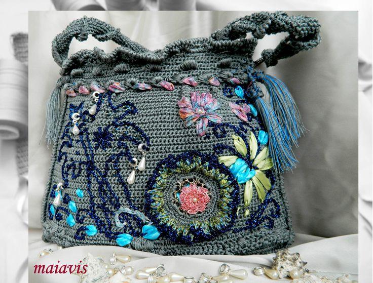 handmade bag crochet unique bag women fashion gray embroidery