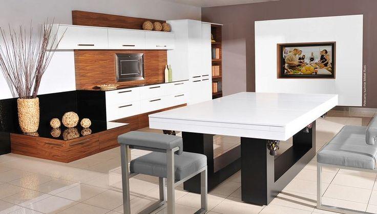 Stół bilardowy Montreal jako stół w otwartej kuchni