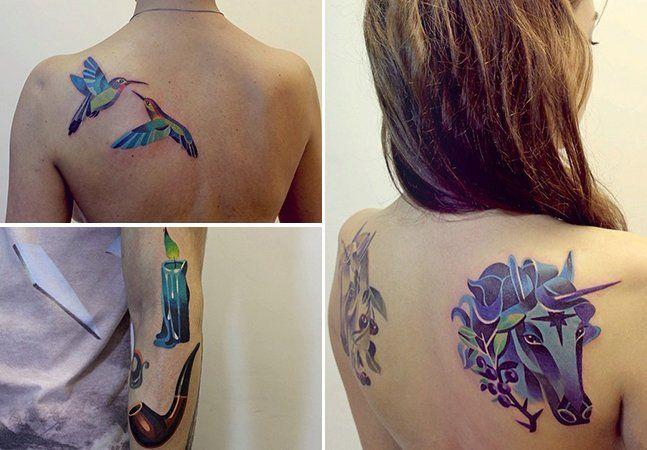 Poderiam ser telas, mas são corpos. As tatuagens da russa Sasha Unisex surpreendem por suas cores e efeitos 3D provocados pelas formas geométricas utilizadas para compor as figuras. Pássaros, cãezinhos e leões se destacam em tonalidades vibrantes, mas objetos do dia a dia e flores também marcam o incrível trabalho da tatuadora. Para quem gosta de cores na tattoo, o trabalho de Sasha Unisex é um prato cheio de inspiração! Confira algumas de suas peças:Todas as fotos ©Sasha Unisex