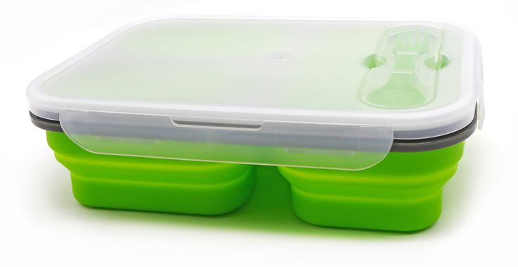 PuTwo Lunch box Bento Box Collapsible BPA-Free Kids Lunch Box with 3 Compartments and Cutlery - Blue