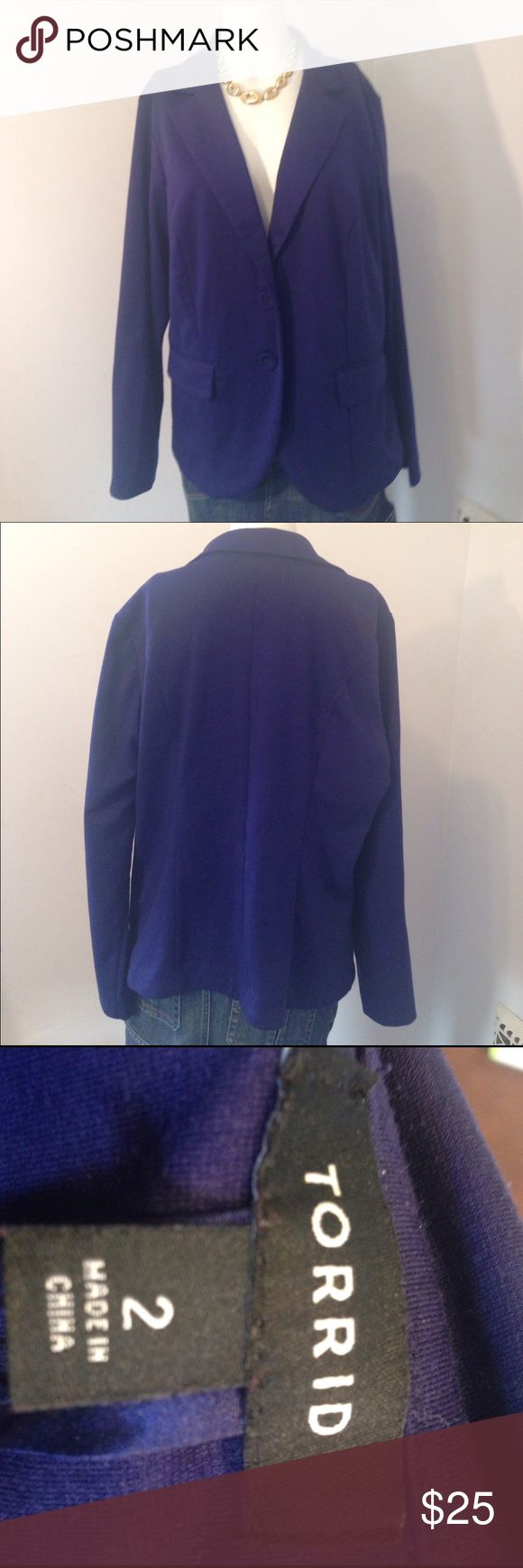 Torrid Royal blue blazer plus size Torrid Royal blue blazer plus size 2x , 2 buttons in front, pockets aren't function able, polyester, rayon, spandex blend, good condition torrid Jackets & Coats Blazers
