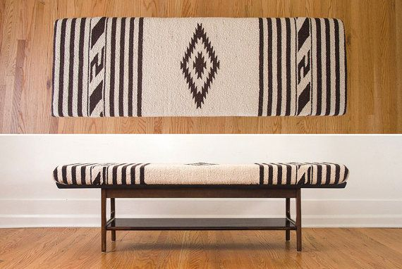 SALE+Mid+Century+Vintage+Natural+Wool+Bench++by+HomesteadSeattle,+$995.00