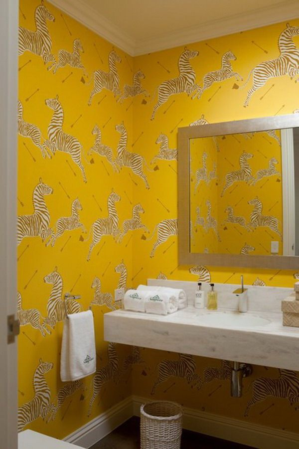 Modern Bathroom Ideas And Yellow Decorative Wallpaper   Home .