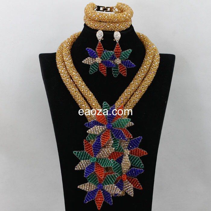 Latest design 2 layer luxury African Nigerian Beads Wedding Party Occasional Beads Bridal Beads Jewelry Set- gold and multicoloured brooches