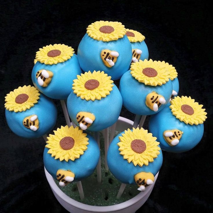 Bee & Sunflower Birthday cake pops baked by Laura's Baking Delights in Holmen, WI