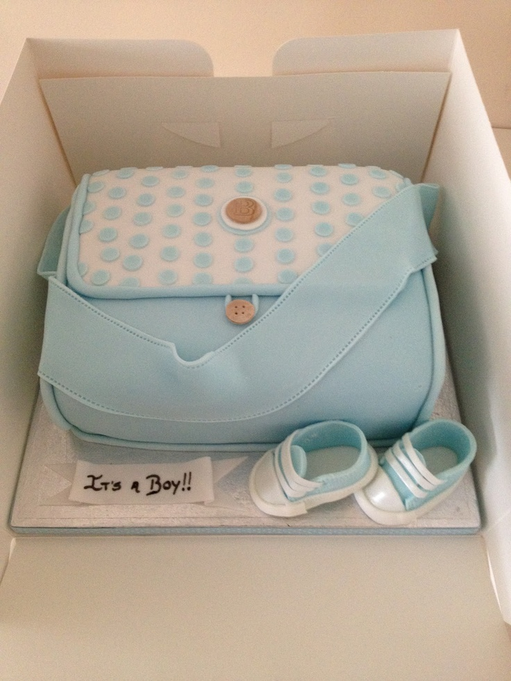 """It's A Boy"" Blue Diaper Bag Cake"