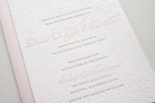 Lace embossed invitations in blush pink and slate grey