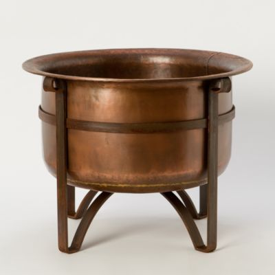 "Rustic Copper Fire Pit in Outdoor Living ENTERTAINING Fire Pits at Terrain. Copper, iron. h: 23"", d: 16"", diam: 31"""
