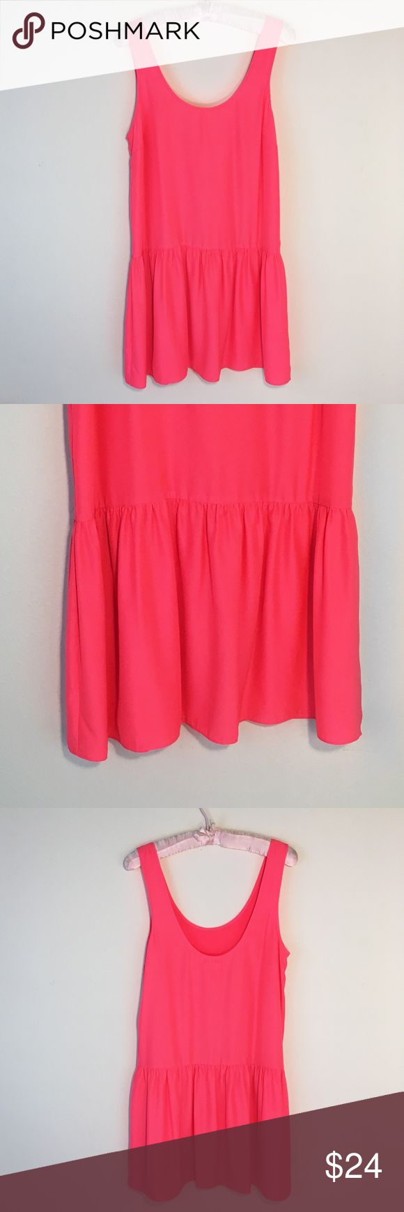 "Urban Outfitters Hot-Pink Mini Dress Size M Bright hot-pink mini dress in excellent condition! 33.5"" long from the top of the strap to the bottom of the skirt. Brand is Silence + Noise. Urban Outfitters Dresses"