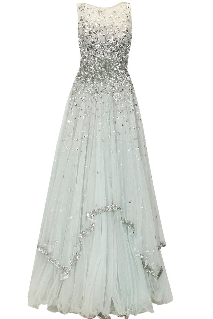 PAPA DON'T PREACH Sky blue and silver laser cut mirror applique work flared gown available only at Pernia's Pop Up Shop.