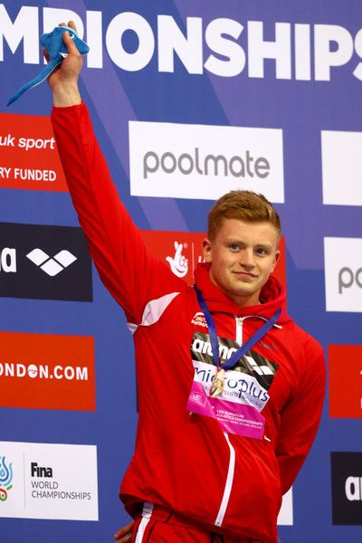 Adam Peaty of Great Britain poses with his Gold medal after winning the Men's 100m Breastroke Final on day nine of the 33rd LEN European Swimming Championships 2016 at the London Aquatics Centre on May 17, 2016 in London, England. - 33rd LEN European Swimming Championships 2016 - Day 9