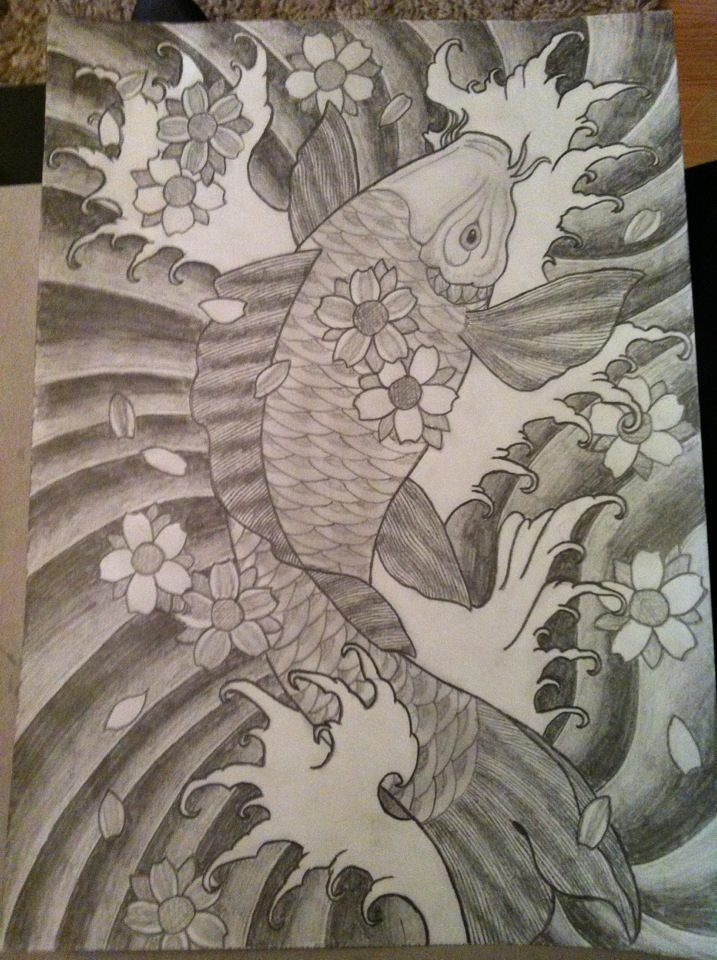 This sketch of a koi took me a little while but was so worth it! Inspired by Gramps old tattoo designs ❤️