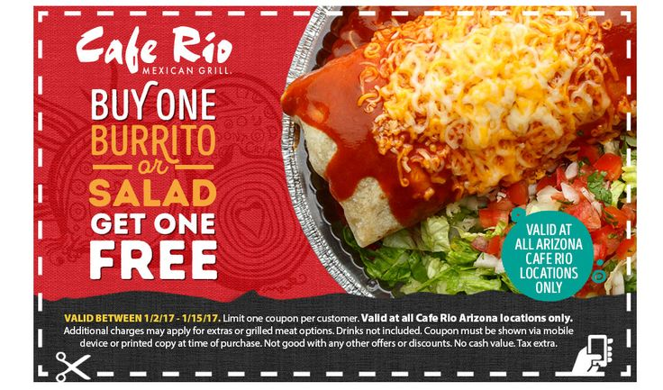 Hey Amigos, share the Cafe Rio love with your favorite Amigo! We're offering Burrito/Salad BOGOs at our NEW Arizona location.