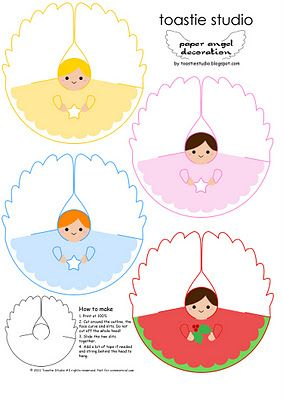 Paper Angel tutorial. You can make these Christmas tree toppers out of a paper plate, or visit this site for a printable pattern.