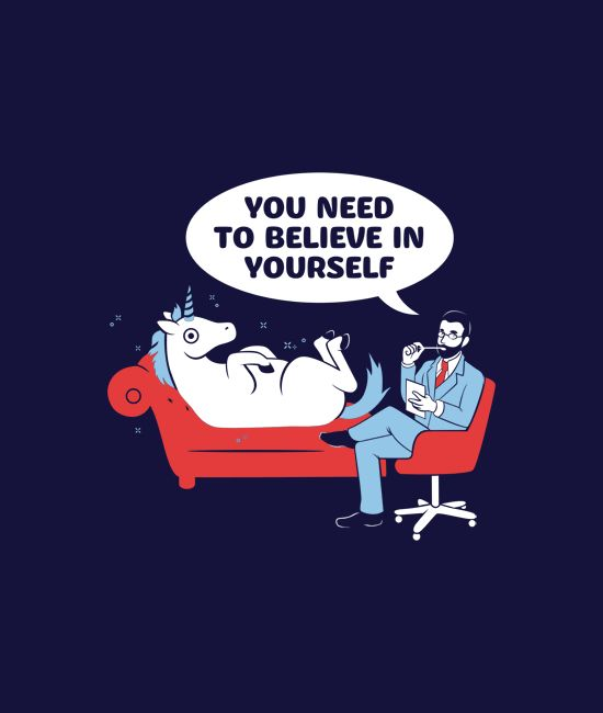 """You Need to Believe In Yourself."" funny unicorn t-shirt.  Comfy tees and hoodies from SnorgTees."