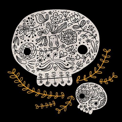 Day of the Dead OwlSkull Print, Happy Doodles, Dead Dia, Doodles Skull, Floral Skull, Flora Change, Doodles Land, Dead Owls, Happy Halloween