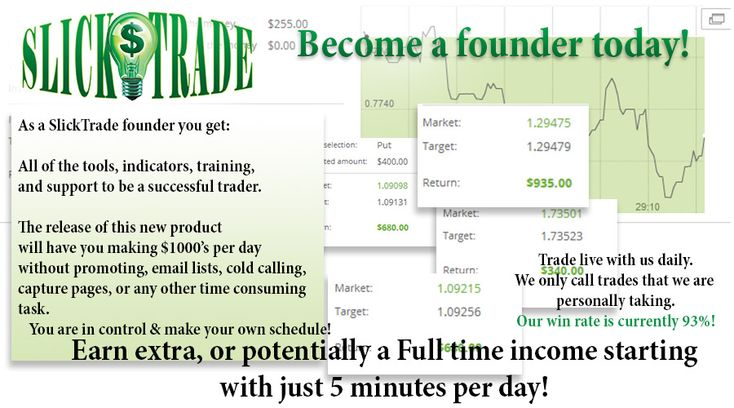 SlickTrade Binary Trading Strategies and Live Trading Room  Make $1000's per day with our live trading room and full package of indicators, TOS workspace setups, video tutorials and friendly support staff!  You're only minutes away from financial freedom  http://slicktrade.net/  #makemoney #makemoneyonline #makemoneyfast #workfromhome #opportunity #opportunities #binarytrading #binaryoptions #bosslife #entrepreneur #startupbusiness #business #lifestyle #daytrading #stock