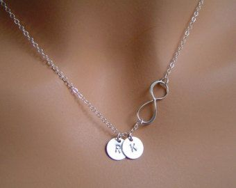 Personalized Infinity necklace Initial Infinity by JewelryBlues                                                                                                                                                                                 More