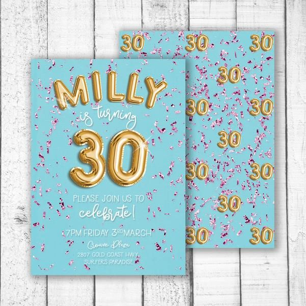 foil balloon & confetti birthday invitation - Celebrate good times! Come on, let's celebrate. This custom party invitation will get your guest in the mood to party.   size  A5 148 x 210mm  or   A6 105 x 148mm