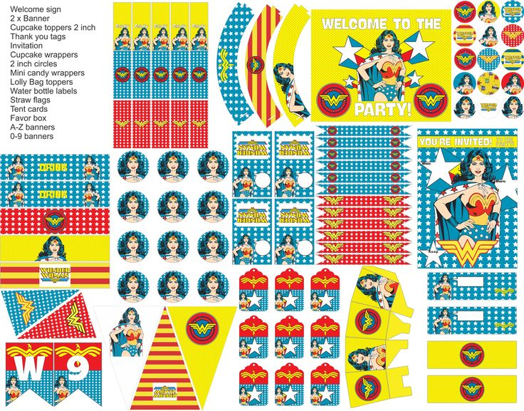 Wonder Woman party printables, wonder woman party decorations, everything you need for your Wonder Woman party